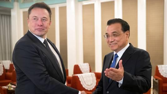 Elon Musk et le premier ministre chinois Li Keqiang