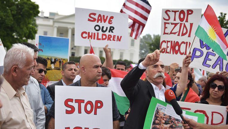 Eerder werd ook in andere landen gedemonstreerd, onder andere in Amerika voor het Witte Huis Beeld ANP