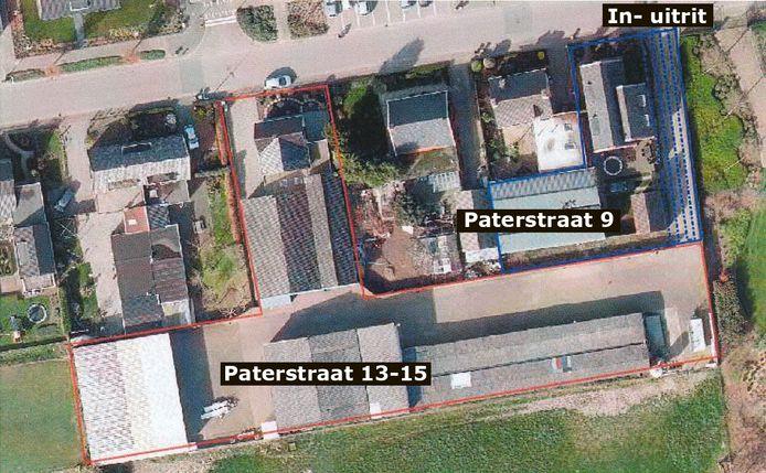 Het gebied van de Koetserij (in roze/rode gebied) en het terrein van bezwaarmakende buurman Van Opijnen inclusief het pad waar recht van overpad geldt (in blauwe gebied).