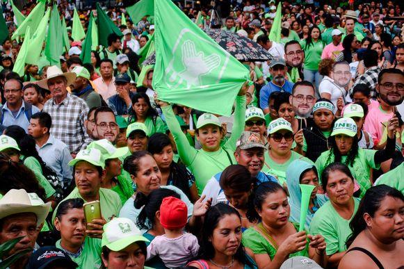 Aanhangers van de partij Union Nacional de la Esperanza in Guatemala.