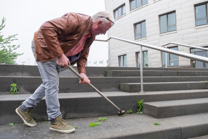 Toenmalig VVD-raadslid Dick Meulblok opperde drie jaar geleden inwoners een onkruidborstel geven in de strijd tegen het onkruid. Hij gaf zelf het goede voorbeeld op de trappen van het gemeentehuis in Zierikzee.