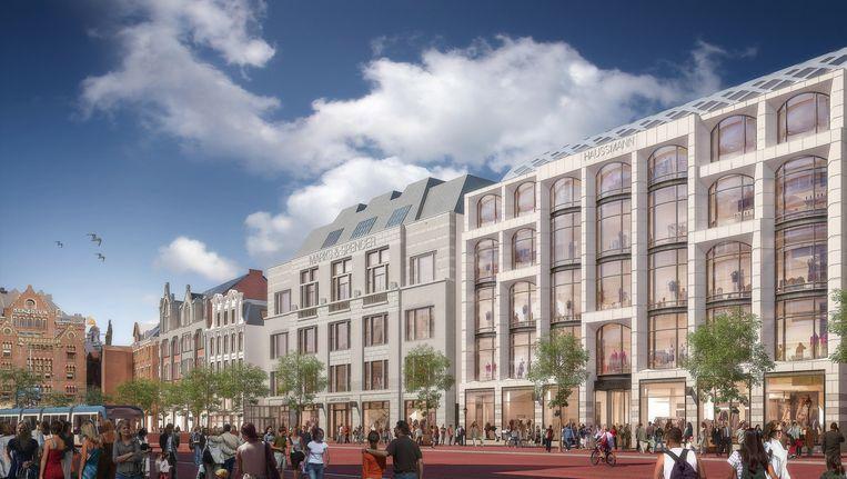 Impressie van Haussmann op het Rokin, zoals dat er in 2017 uit moet zien Beeld Rijnboutt Architecten