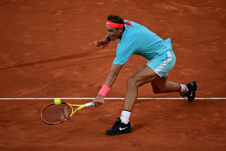 Nadal tijdens de wedstrijd tegen Diego Schwartzman. Beeld AFP