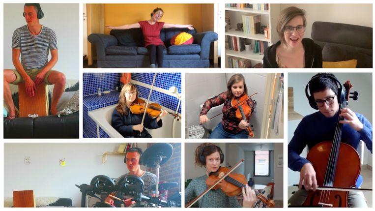 De achtkoppige Gentse band 'Ultra Vioolet' maakte de cover 'I CAN live in my living room'.