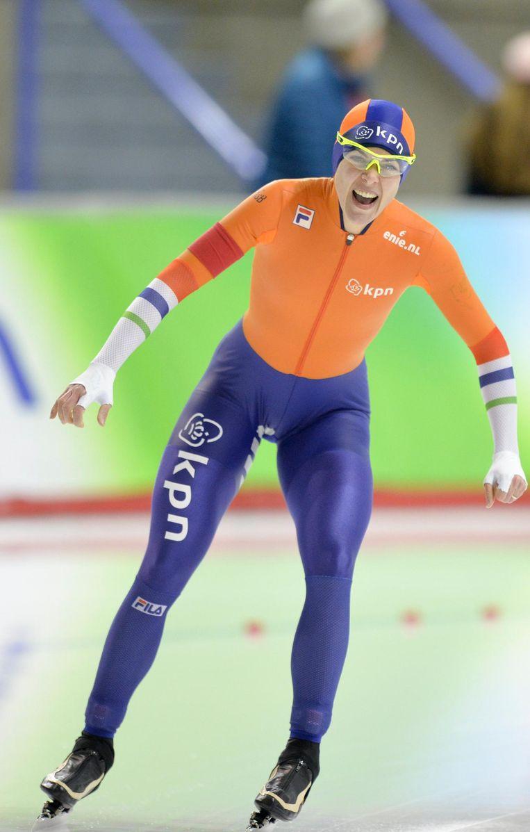 Marrit Leenstra kan tevreden zijn met haar tijd op de schaatsmijl Beeld epa