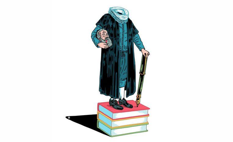 Vier eeuwen na zijn dood is Van Oldenbarnevelt in de literatuur als man van de tolerantie springlevend Beeld Olivier Heiligers
