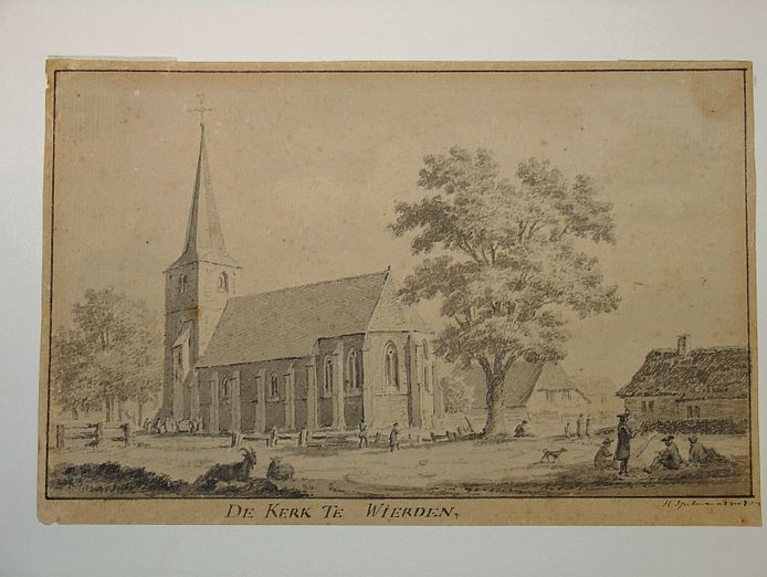Een  oude ansichtkaart met de kerk van Wierden.