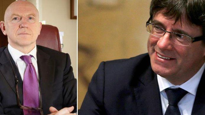 De afgezette Catalaanse leider Carles Puigdemont neemt Belgisch advocaat Paul Bekaert onder de arm.