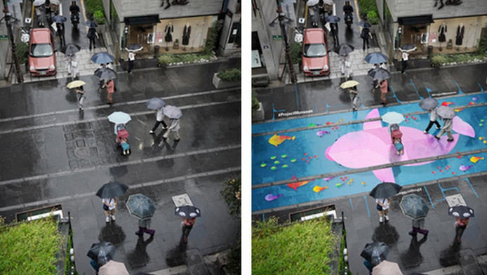 Een straat voor en na de schilderingen.