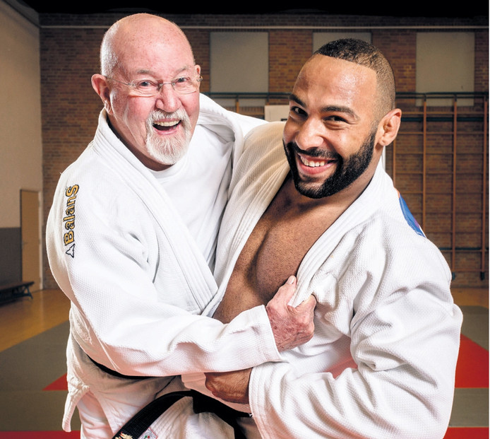 'Willem Cobben (85) heeft me met het judovirus besmet' zegt Roy Meyer (25) zevende op de OS in Rio bij de superzwaargewichten. Foto Kees Bennema