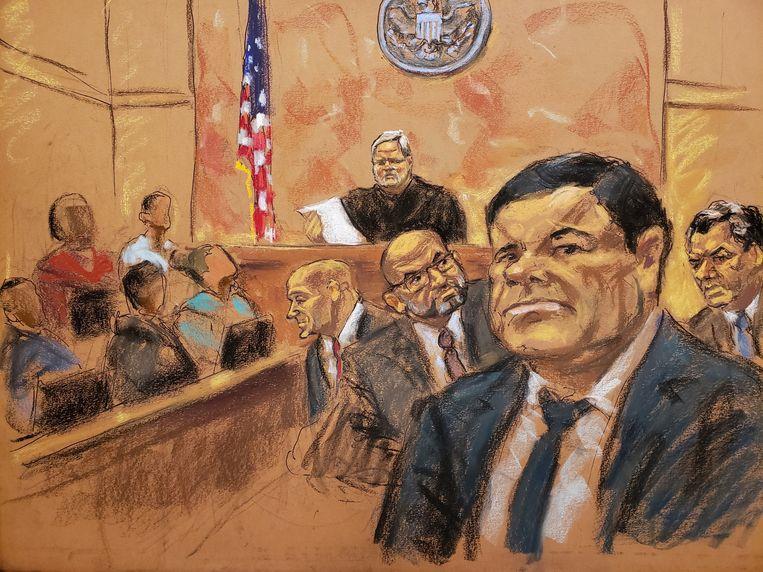 El Chapo op een schets vanuit de rechtszaal.