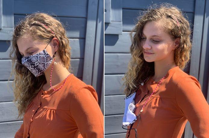 Eben ontwerpt de maskerkoordjes zodat het ook mooie juweeltjes worden.