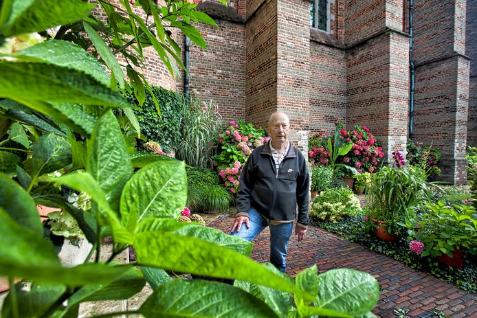 Kees Horsman hield na zijn pensioen nog lange tijd de tuin rond de Geertruidskerk in Geertruidenberg bij. Hier op de foto voor de krant, in 2016.