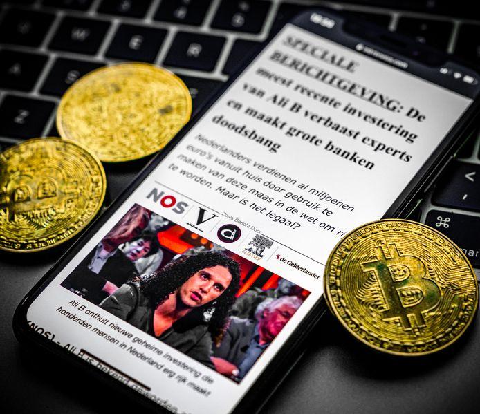 Een advertentie voor investeringen in Bitcoin met Ali B. Diverse bekende Nederlanders hebben een rechtszaak tegen Facebook aangespannen tegen de verspreiding van de nepadvertenties.