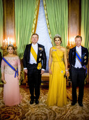 Groothertogin van Luxemburg Maria Teresa, Koning Willem-Alexander, Koningin Máxima, Groothertog van Luxemburg Henri.