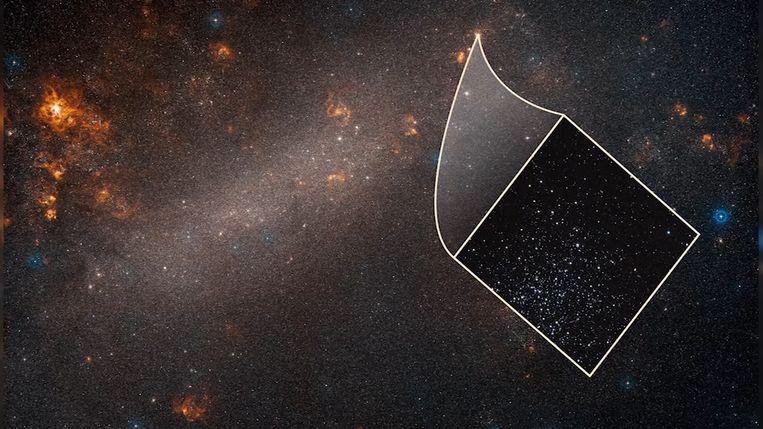 Een beeld van de Grote Magelhaense Wolk, genomen door Hubble. De Grote Magelhaense Wolk is een naburig sterrenstelsel waar Hubble de pulserende sterren heeft bestudeerd.