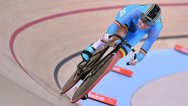 Jolien D'hoore aan het werk op de Olympische Spelen in Rio.