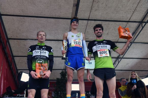 De podiumplaatsen van de 8 kilometer: 1. Jonathan Wayaffe 2. Nicolas Tilman 3. Antonio Hernaert