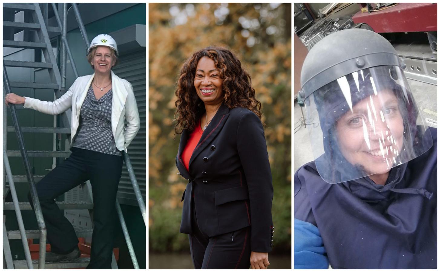V.l.n.r. Yolanda van Rijswijk, Jacinta Hall en Willy Hofstra. In de bouw, techniek en IT zijn vrouwelijke werknemers nog flink in de minderheid.