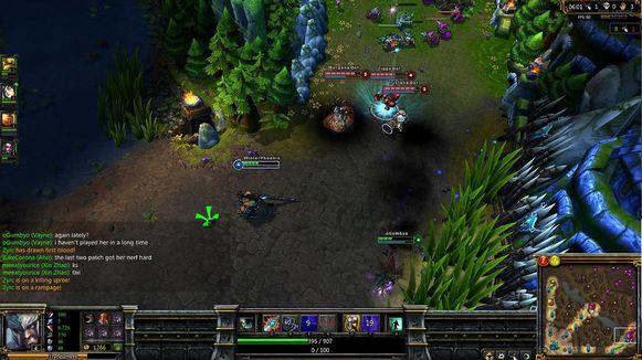 Een beeld van de online game League of Legends, waarin teams het tegen elkaar opnemen in een magische wereld.