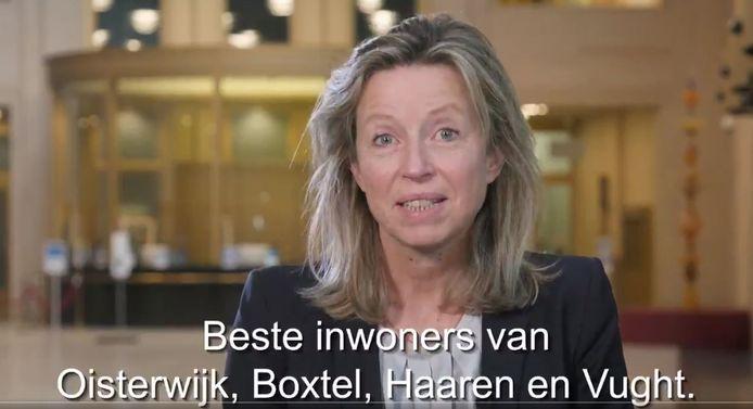 Beeld uit de video waarin minister Ollongren inwoners van Boxtel, Haaren, Vught en Oisterwijk oproept om op woensdag 18 november te gaan stemmen.