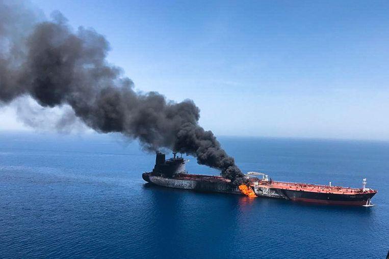 De Front Altair, de olietanker die vorige week werd aangevallen in de Straat van Hormuz.