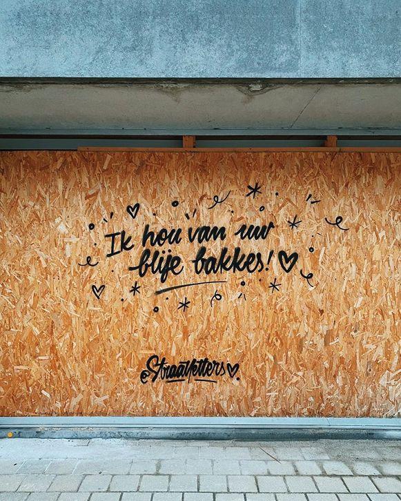 In Doel liet de straatkunstenaar eerder al een fijne boodschap achter.
