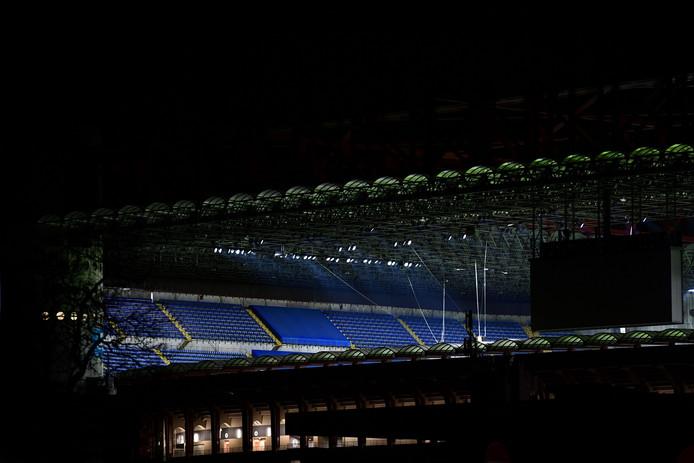 Lege tribune's in Milaan tijdens het duel Inter-Ludogorets.