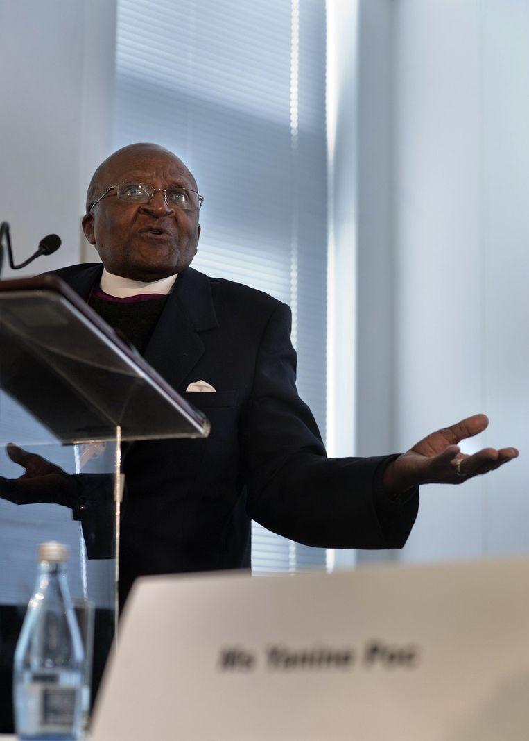 Tutu tijdens de opening van een VN-campagne ter bevordering van de gelijkheid van hetero's en homo's. Beeld afp