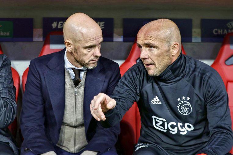 Erik ten Hag (links) en zijn assistent Alfred Schreuder tijdens Bayern Munchen - Ajax. Beeld anp
