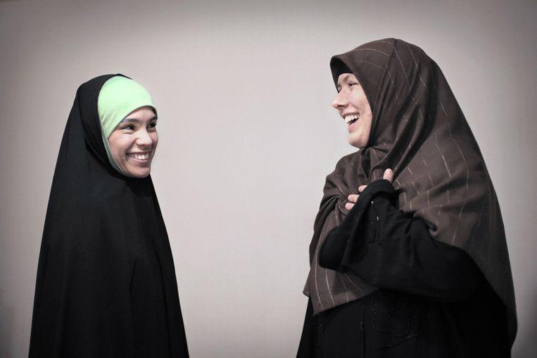 Twee moslima's (Joost van den Broek / de Volkskrant) Beeld Joost van den Broek