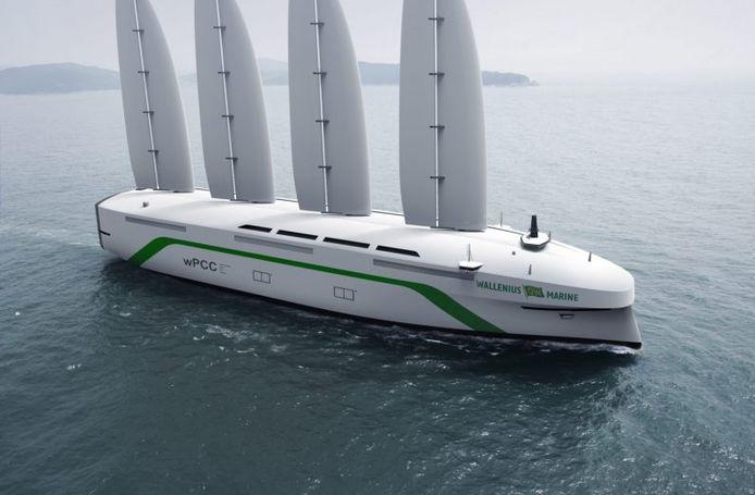 De wPCC, een door wind aangedreven vrachtschip.
