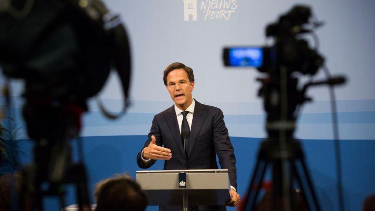 Mark Rutte tijdens de persconferentie. Beeld anp