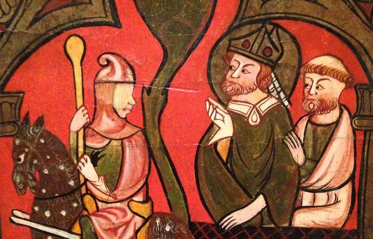 Altaarfrontaal van Sant Cebria (detail) (1300-1350) uit het Bisschoppelijk museum van Vic in Catalonië.  Beeld Museum Catharijneocnvent