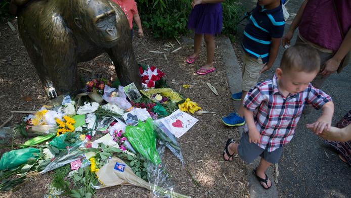 Mensen leggen bloemen neer bij een standbeeld van een gorilla voor de ingang van de dierentuin.