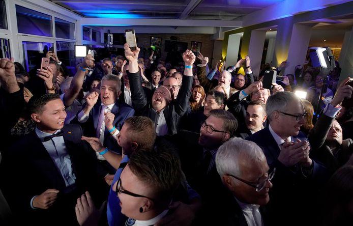 Grote vreugde bij het AfD. Uit de exitpolls blijkt dat de partij haar stemmenaantal zou verdubbelen.