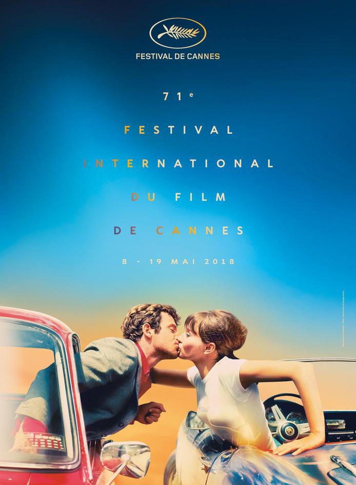 """Affiche pour le festival de Cannes tirée du film """"Pierrot le fou"""", de Jean-Luc Godard avec Anna Karina et Jean-Paul Belmondo, en 1965"""