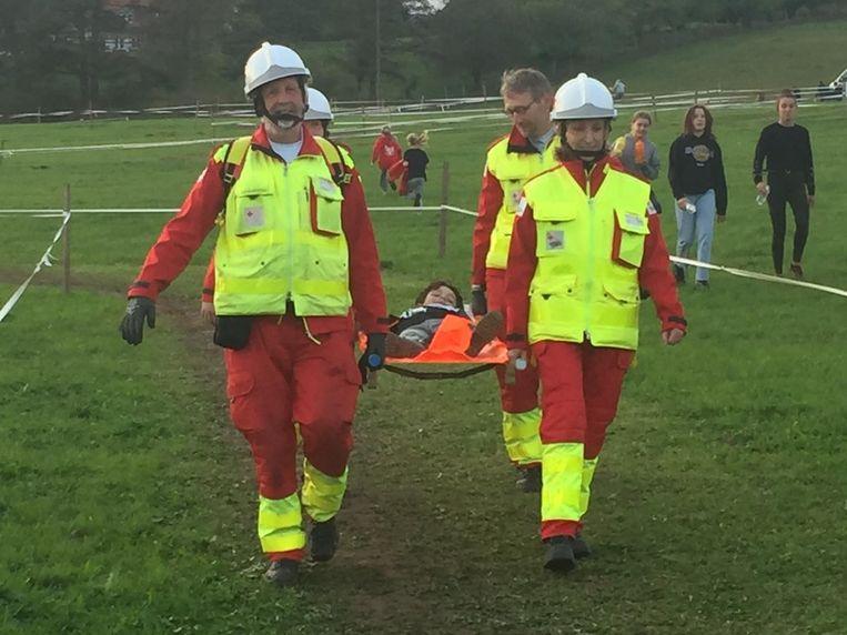 De vrijwilligers van het Rode Kruis deden mee aan de warmathon van de Classica Elsemaa.