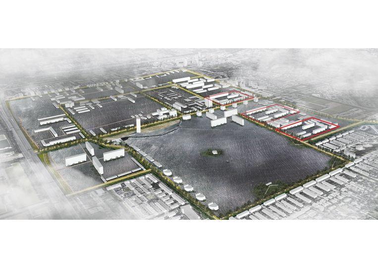 Het toekomstscenario met een waterlandschap. Beeld Studio architectuurMAKEN