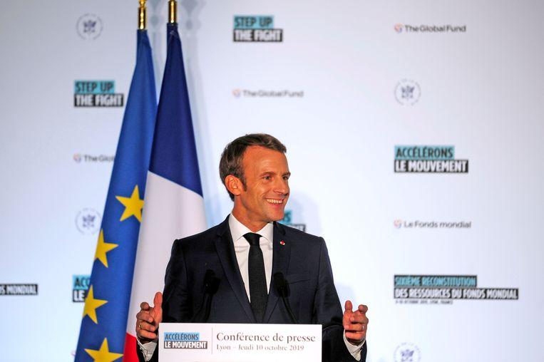 Macron tijdens zijn persconferentie vandaag in Lyon.