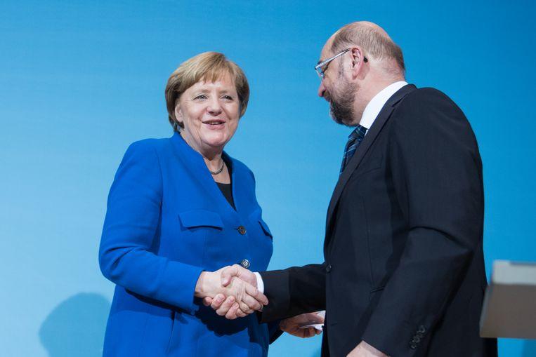 Angela Merkel met de leider van de SPD, Martin Schulz