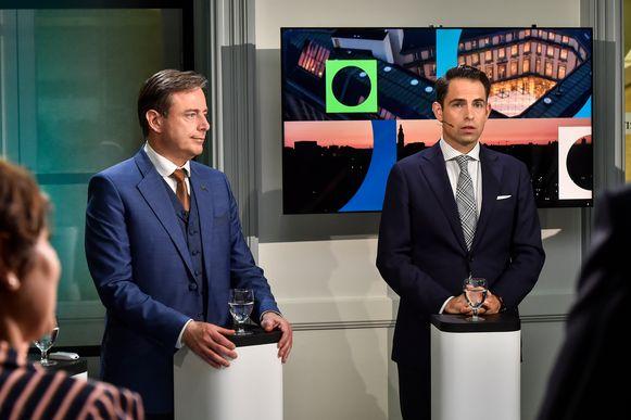 Bart De Wever en Tom Van Grieken tijdens het kopstukkendebat op vrt.