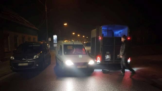 Chauffeur rijdt met bestelwagen in op paardentrailer, laat auto achter en vlucht weg