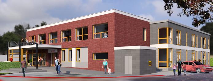 Artist impression van de verbouwde voormalige Rabobank in Wehl. Rechts het aangebouwde grijze gebouwtje met pinautomaat.