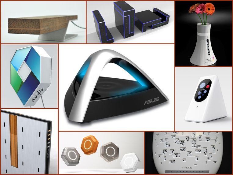 Er wordt wel degelijk nagedacht over het design van routers. Deze zouden niet misstaan op kast of dressoir. Beeld Collage
