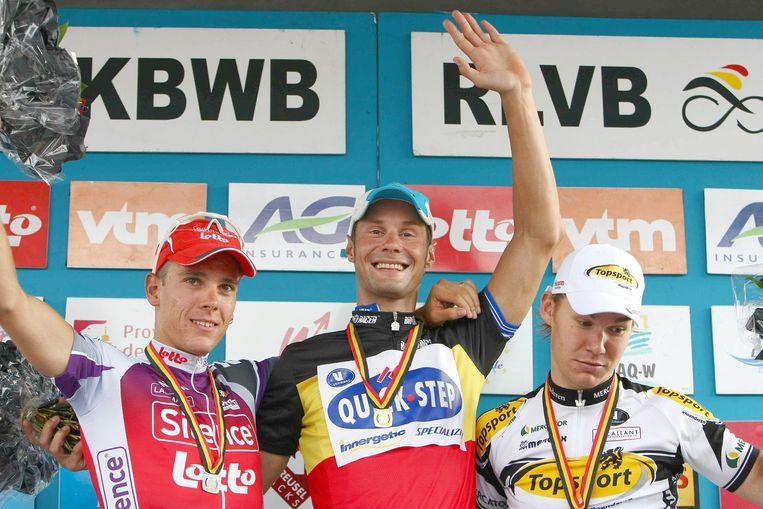 Goddaert stond op twee BK-podia: hier in 2009 was hij derde achter Boonen en Gilbert.