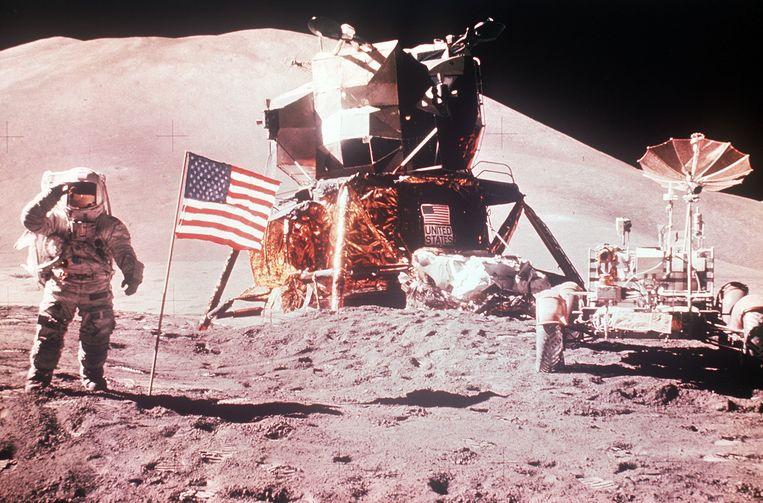 Neil Armstrong als eerste mens op de maan in 1969.  Beeld ANP