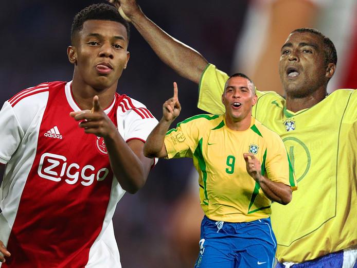 David Neres kan in de voetsporen treden van Ronaldo (midden) en Romario (rechts).