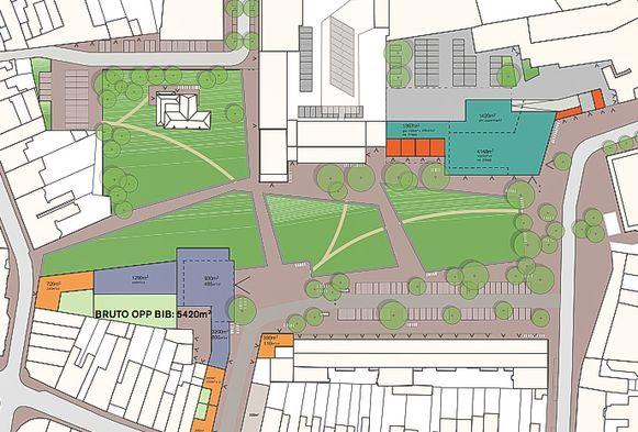 Het ontwerp voor het nieuwe Hendrik Heymanplein, met linksonder een nieuwe bibliotheek, rechtsboven een nieuwe supermarkt en centraal en rond het Castrohof een groot park.