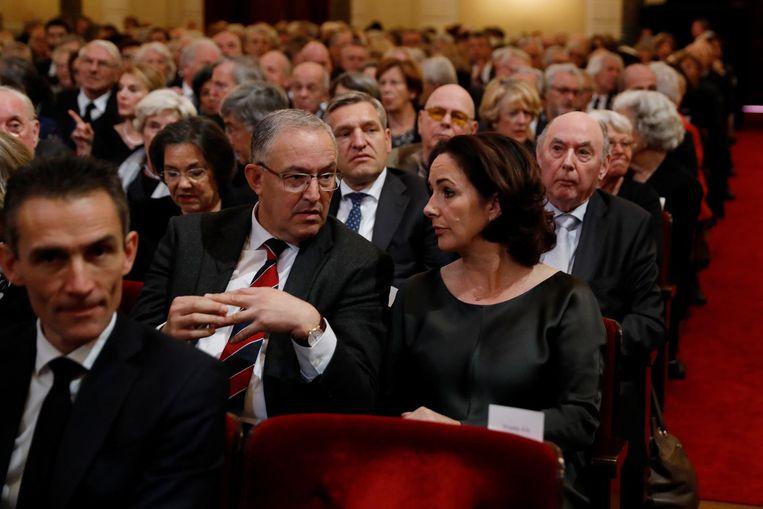 Burgemeesters Ahmed Aboutaleb en Femke Halsema voor aanvang van de herdenkingsbijeenkomst Beeld ANP